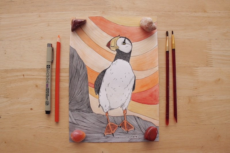 """Sunset Puffin"" by Amarie Young"