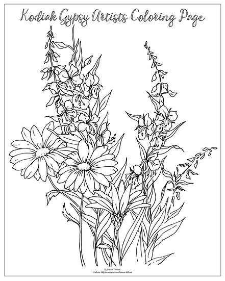 "20x16 coloring page ""Alaskan Bouquet"" by Bonnie Dillard"
