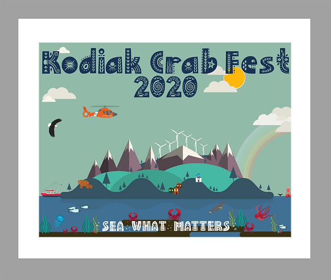 2020 Kodiak Crab Festival Poster Matted