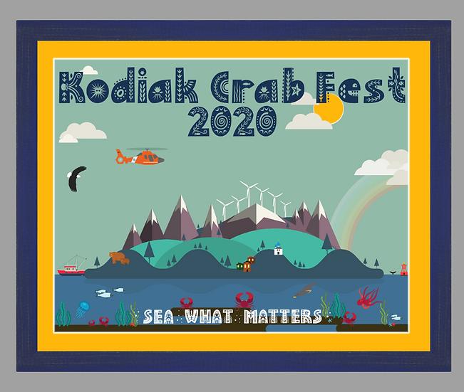 2020 Kodiak Crab Festival Poster matted w/ blue rustic frame