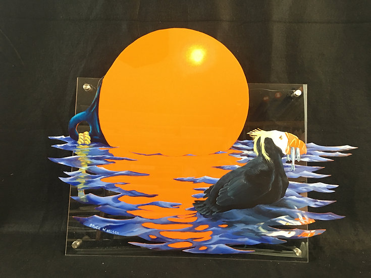 "Original oil painting ""Buoy and Puffin"" by Bruce Nelson"