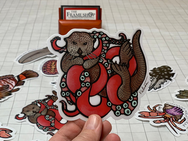 Octopus and Otter Sticker by Valisa Higman