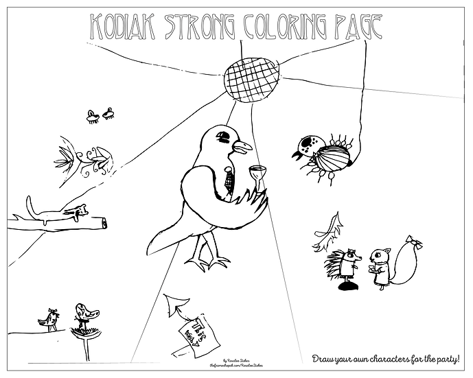 """20x16 coloring page """"Animal Party"""" by Rosalee Stokes"""