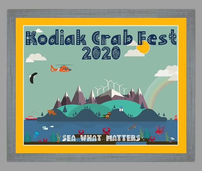 2020 Kodiak Crab Festival Poster matted w/ Dixie Grey rustic frame