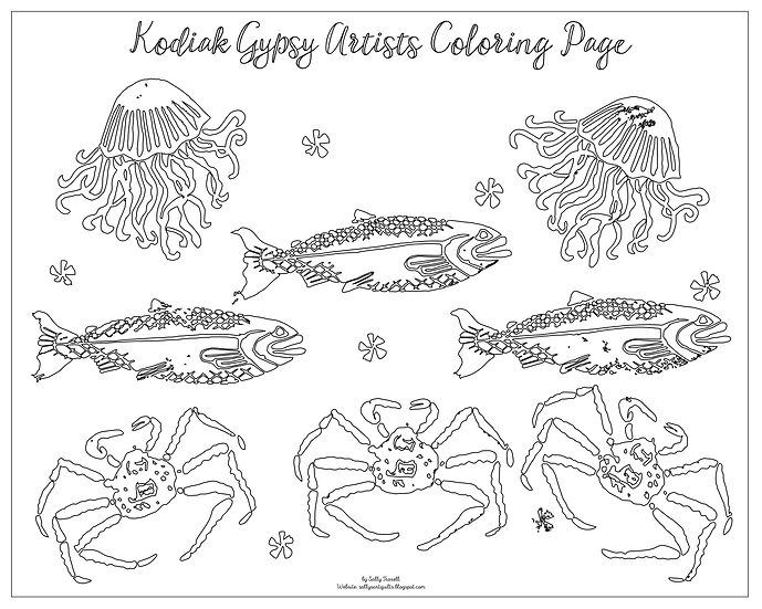 "20x16 coloring page ""Floating"" by Sally Troxell"