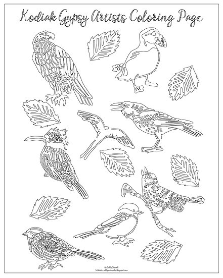"""20x16 coloring page """"Birds of Kodiak"""" by Sally Troxell"""