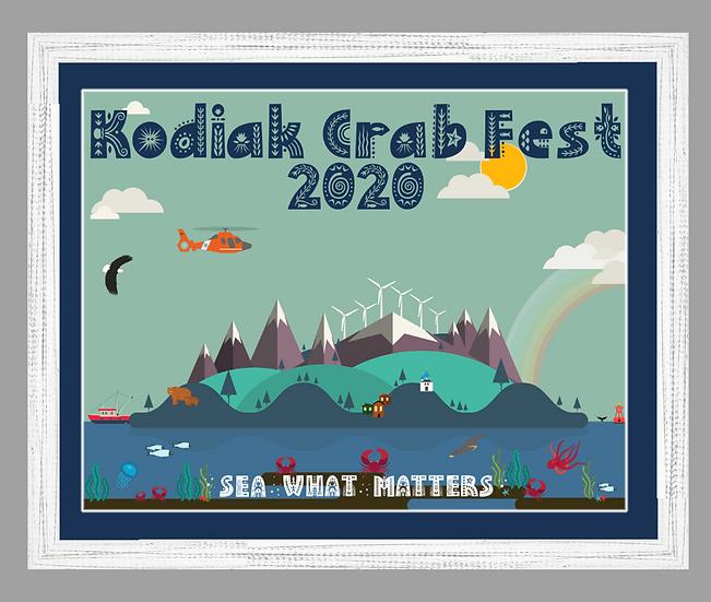 2020 Kodiak Crab Festival Poster matted w/ white rustic frame