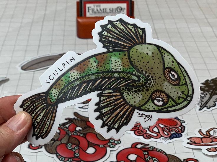 "Sculpin"" Sticker by Valisa Higman"