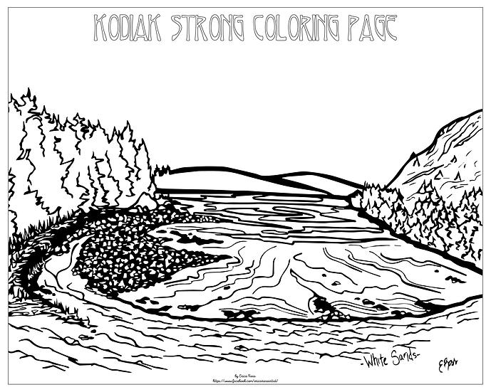 "20x16 coloring page ""White Sands, Kodiak Ak"" by Erica Ross"