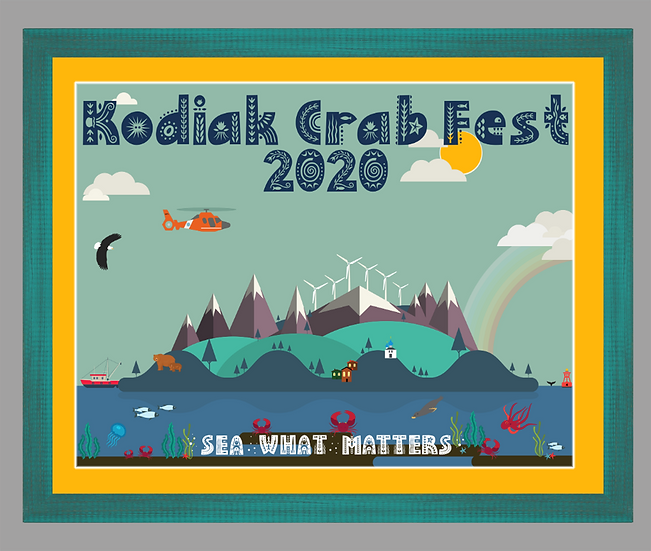 2020 Kodiak Crab Festival Poster matted w/ teal rustic frame