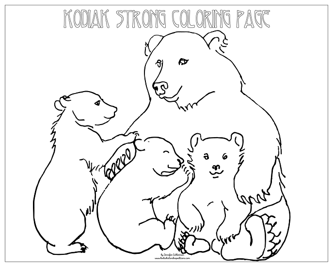 "20x16 coloring page ""Bear Family"" by Jennifer Culbertson"