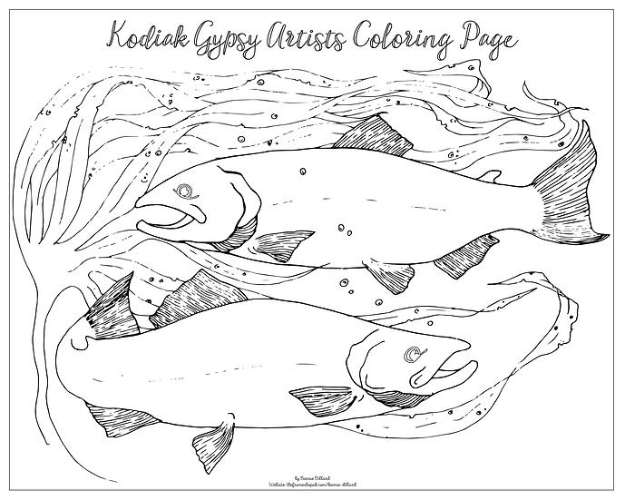 """20x16 coloring page """"Salmon"""" by Bonnie Dillard"""