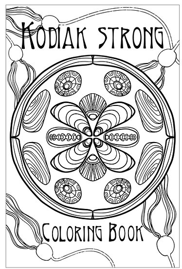 "20x16 coloring page ""Kodiak Strong Coloring Book"" Cover by Angela Toci"