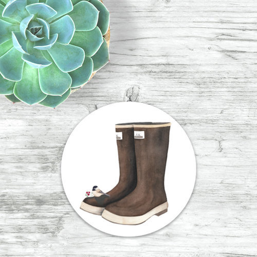 """Boots  & Chickadee 3"" circle"" sticker by Angela Toci"