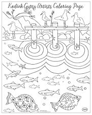"20x16 coloring page ""Hanging by the Dock"" by Natasha Zahn Pristas"