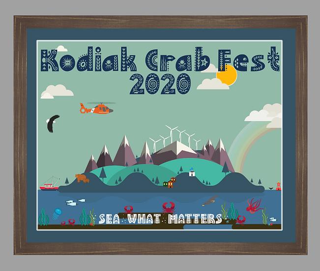 2020 Kodiak Crab Festival Poster matted w/ brown rustic frame