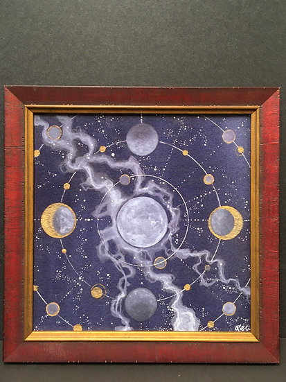 "Framed ""Compass Moon"" by Angela Toci"