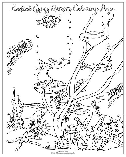 """20x16 coloring page """"Under Water"""" by Antoinette Walker"""