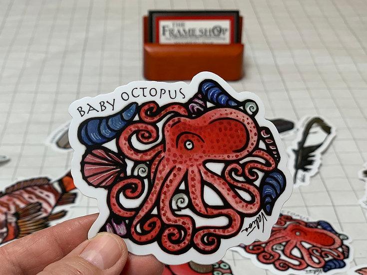Baby Octopus Sticker by Valisa Higman