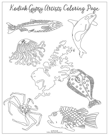 """20x16 coloring page """"Kodiak and What Sustains Us"""" by Sally Troxell"""
