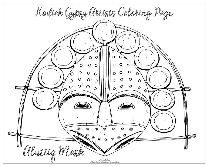 "20x16 coloring page ""Alutiiq Mask"" by Bonnie Dillard"