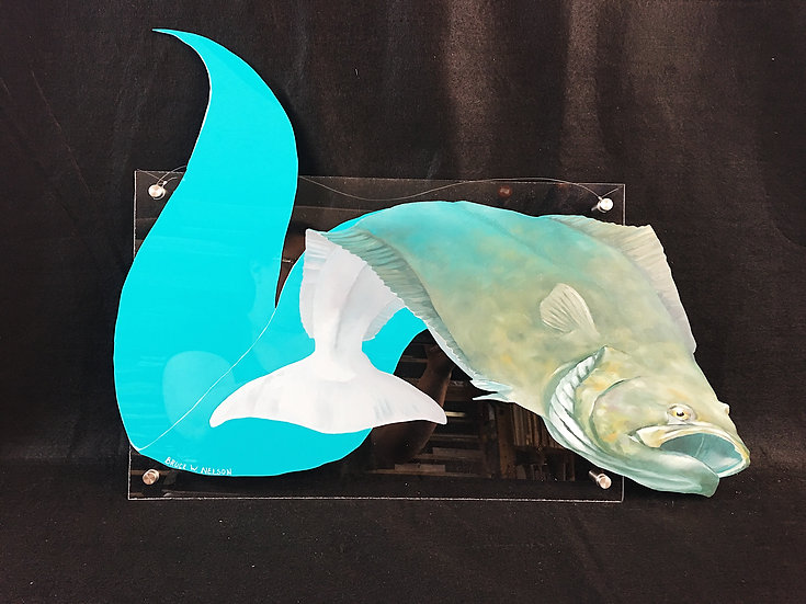 "Original oil painting ""Halibut Swim"" by Bruce Nelson"