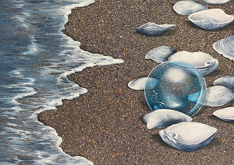Clam Shells with Glass Float by Bruce Nelson