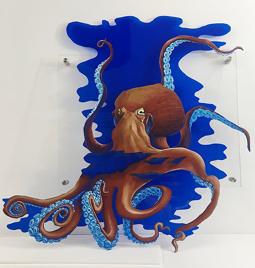 """Original oil painting """"Inky Octopus"""" by Bruce Nelson"""