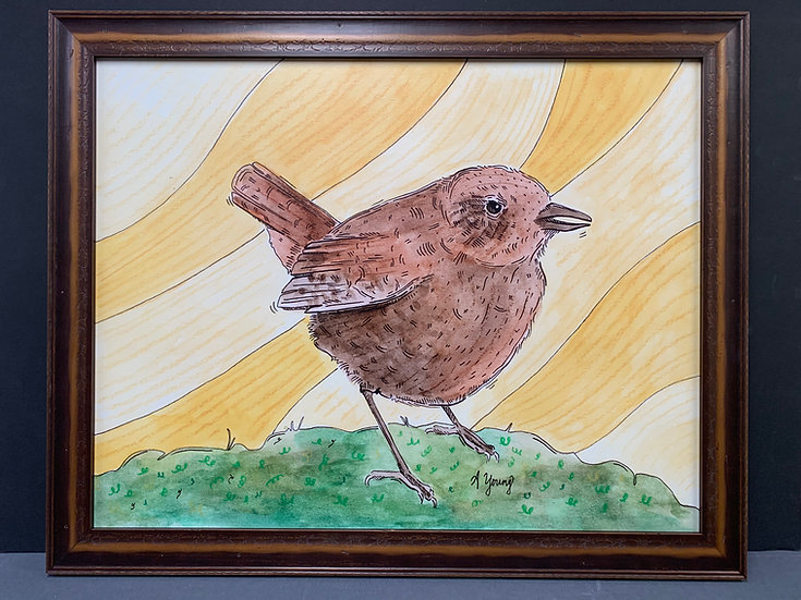"""Framed """"Wood Shed Wren"""" by Amarie Young"""