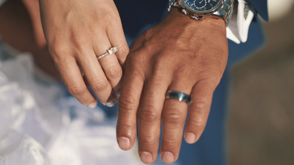 Two hands, each with their wedding rings on