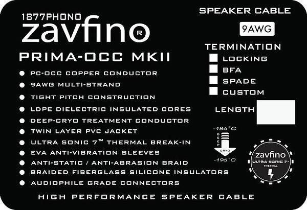 технические характеристики акустического кабеля Zavfino Prima mk2
