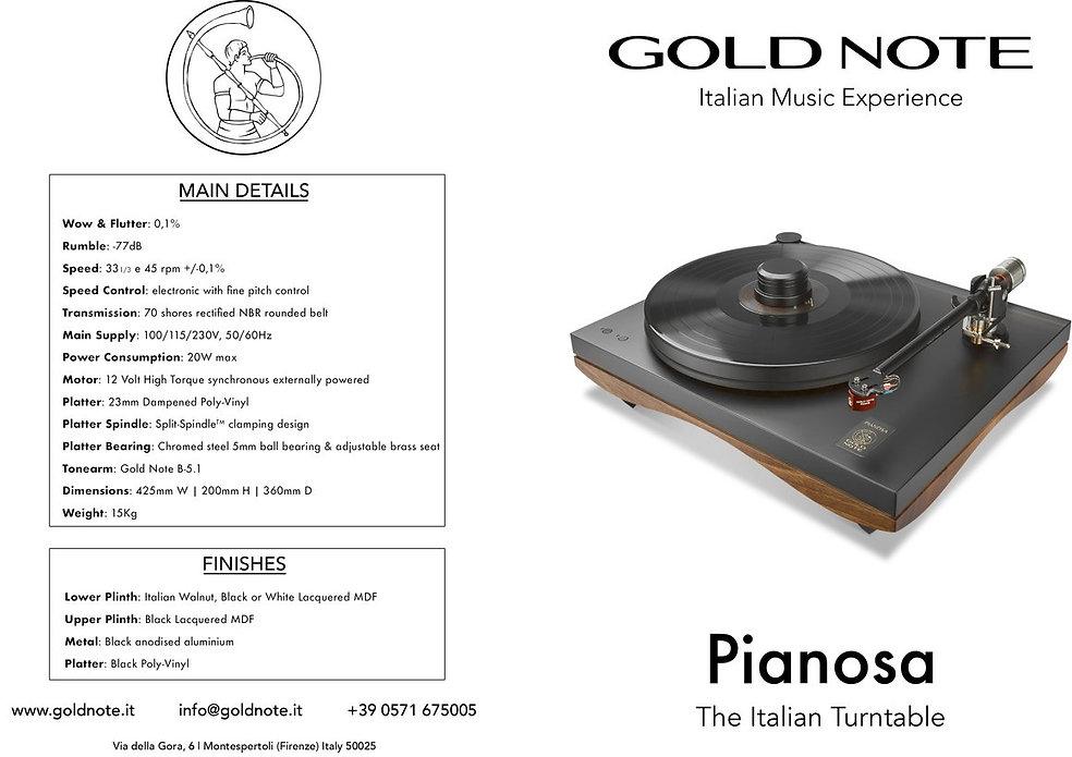 технические данные проигрывателя пластинок Gold Note Pianosa