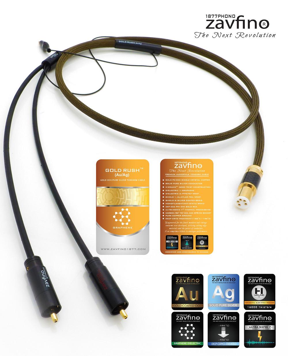 Zavfino Gold Rush - кабель для тонарма, проводники из монокристаллической меди и серебра, криогенная обработка проводников, изолятор - графен.