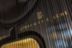 Передняя панель с логотипом акустической системы Steinway Lyngdorf Model D, черный лак и золото