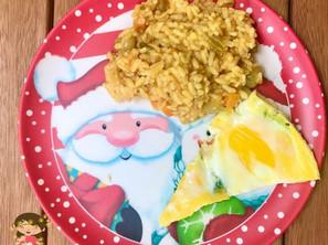 Omelete com folhas de brócolis