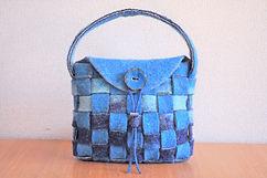 ハンドバッグ市松模様青 シャポーチホレーヌ鎌倉ハンドフェルトの帽子