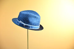 夜明け前の海 本建て正藍染  シャポーチホレーヌ鎌倉ハンドフェルトの帽子 ウールフェルトハット
