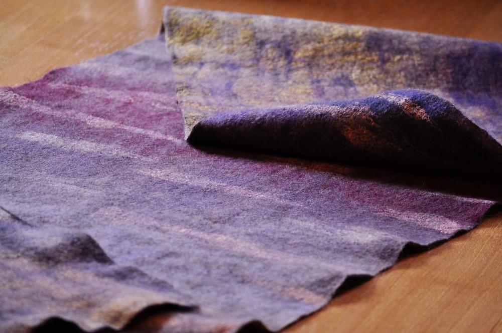 Chiholaine フェルトのストール ウールと草木染の絹の着物用大判ショール