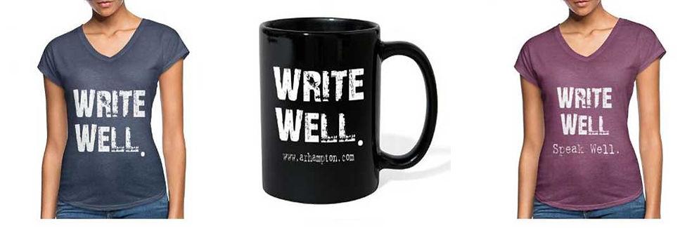 write well mug and shirts