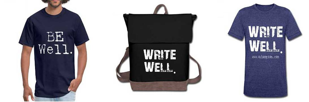 shirts and bags for writers