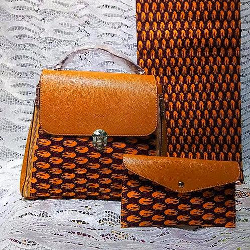 Brown Leather Ankara Handbag (2pc)
