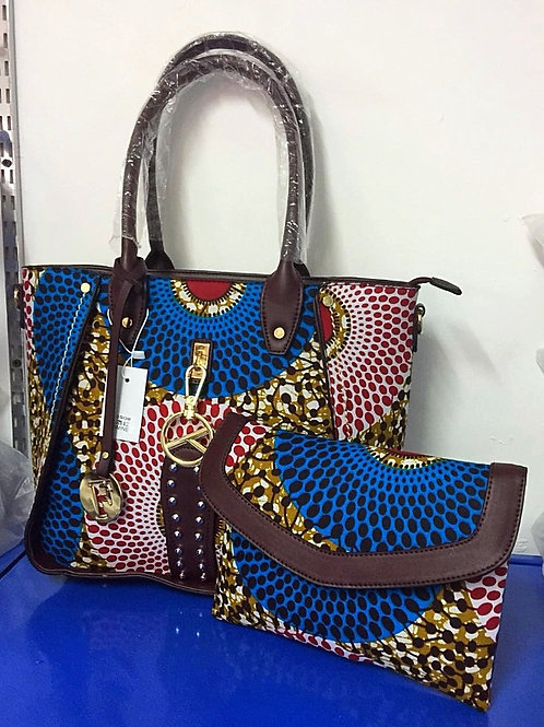 Large African Print Tote Bag with Clutch (2 Pc)