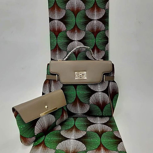 Green & Black Ankara Bag and Clutch