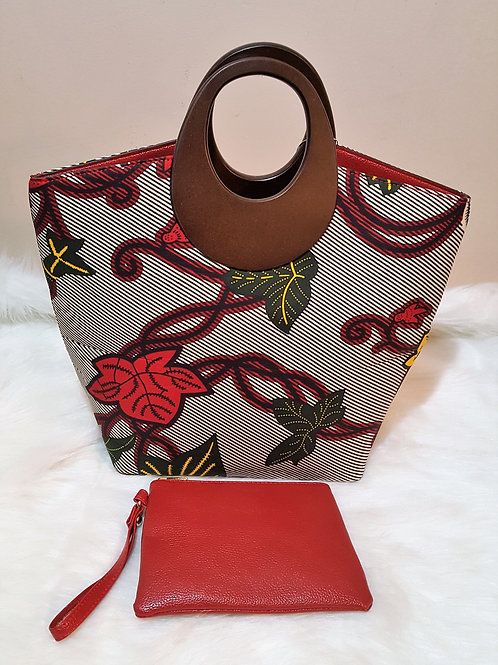 Floral Print Wood Handle Handbag