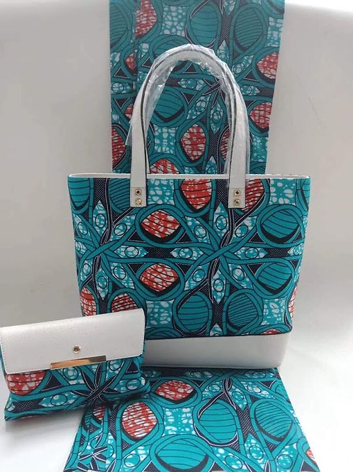 Handcrafted Floral Print Handbag and Wallet