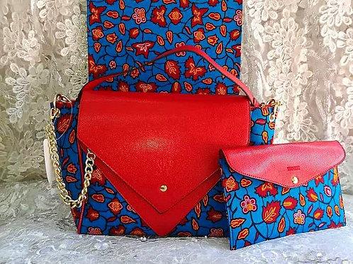 Handcrafted Ankara Leather Handbag