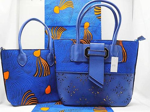 Ankara and Leather Tote Bag & Purse
