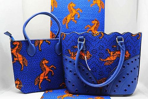 Ankara and Leather Handmade Tote Bag & Purse