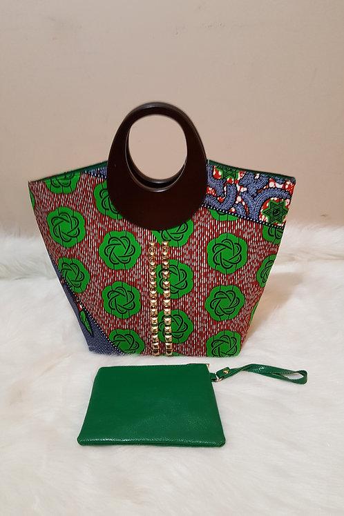Green Floral Print Wood Handle Handbag