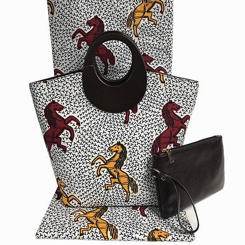 Wood Handle Africa Print Handbag (2 Pc)